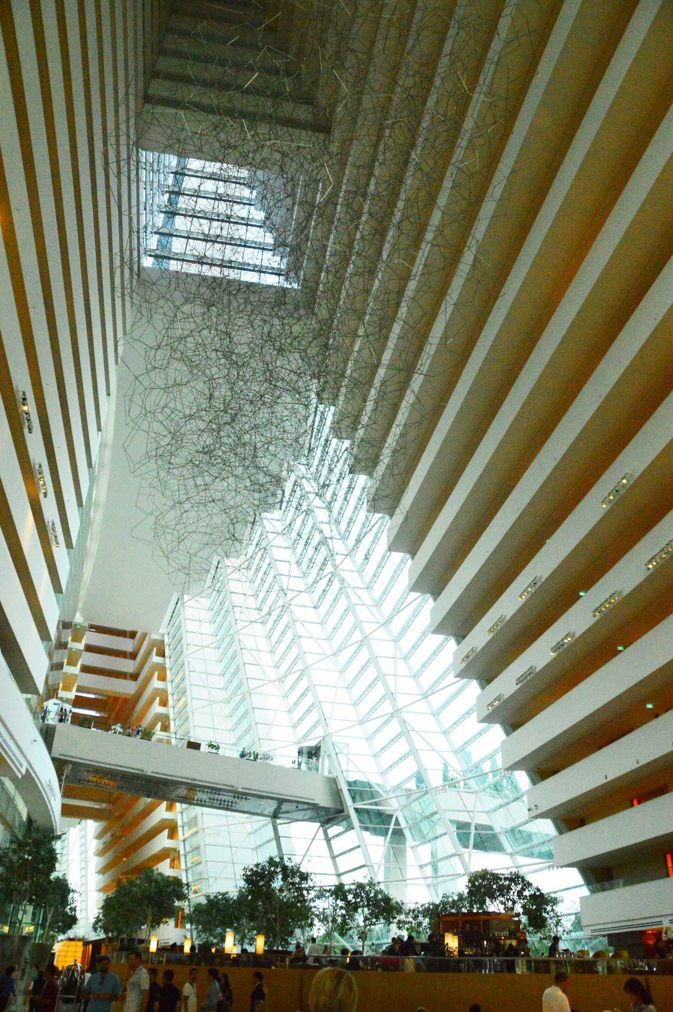 The lobby at the Marina Bay Sands looking up