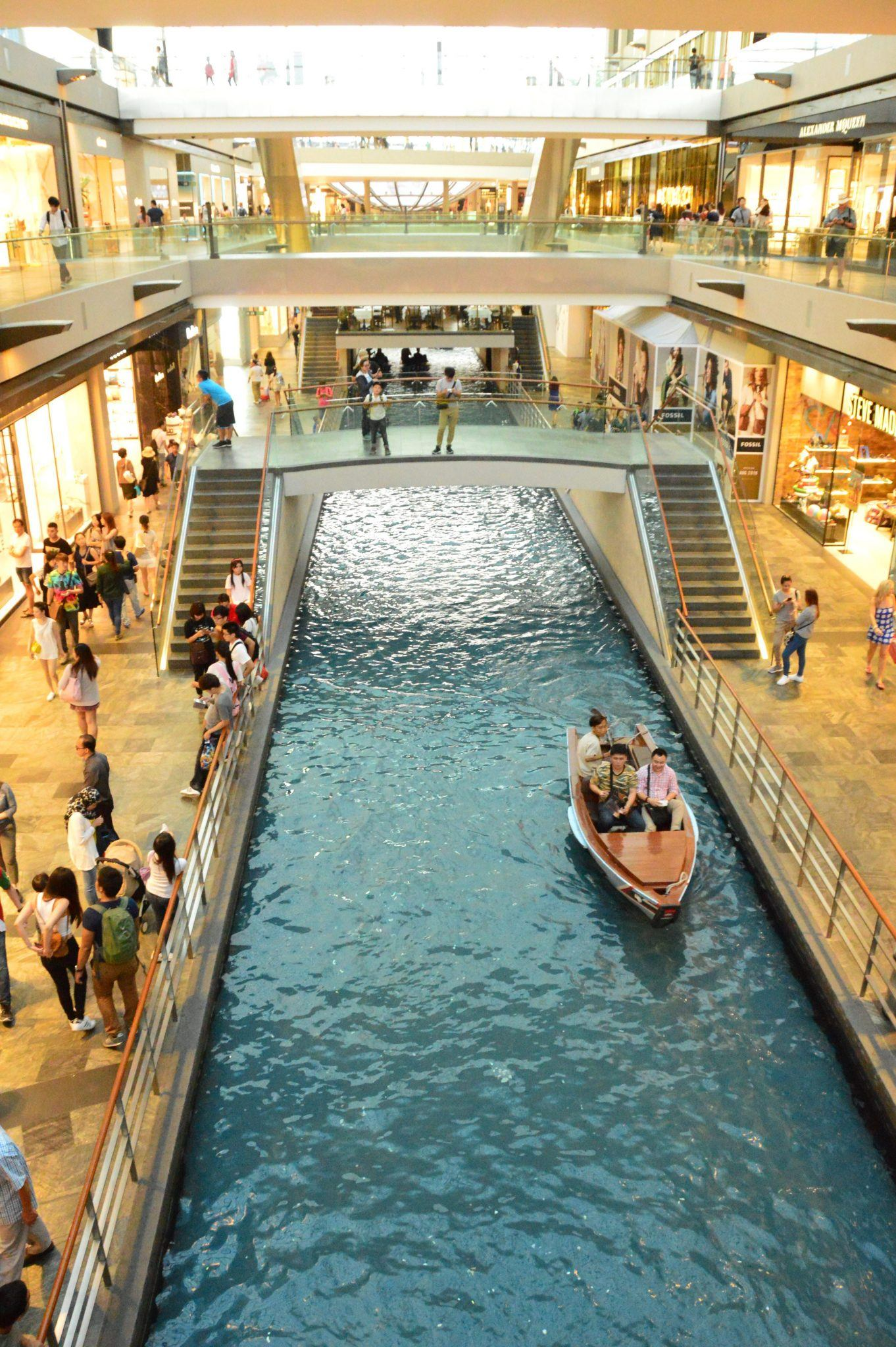 Canal in Marina Bay Sands hotel Singapore