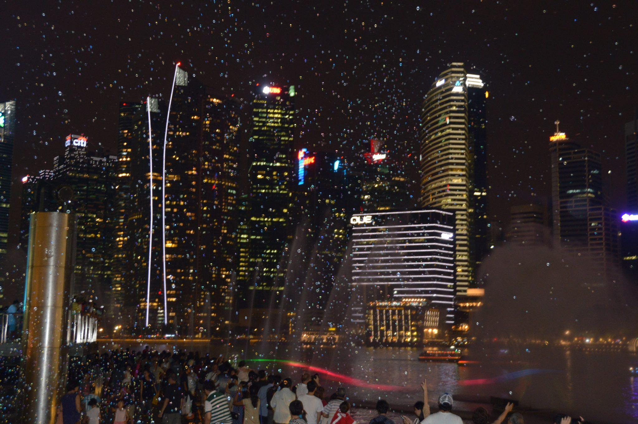 The night show at Marina Bay Sands