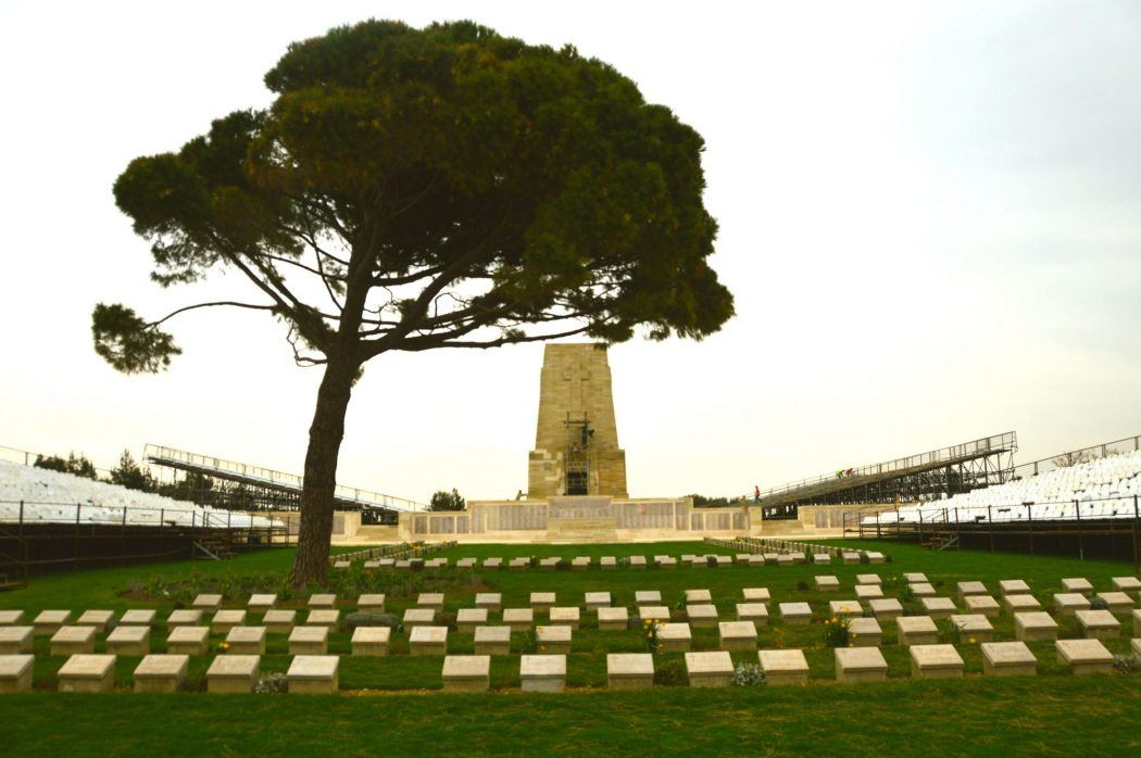 Lone Pine Memorial with graves and tree