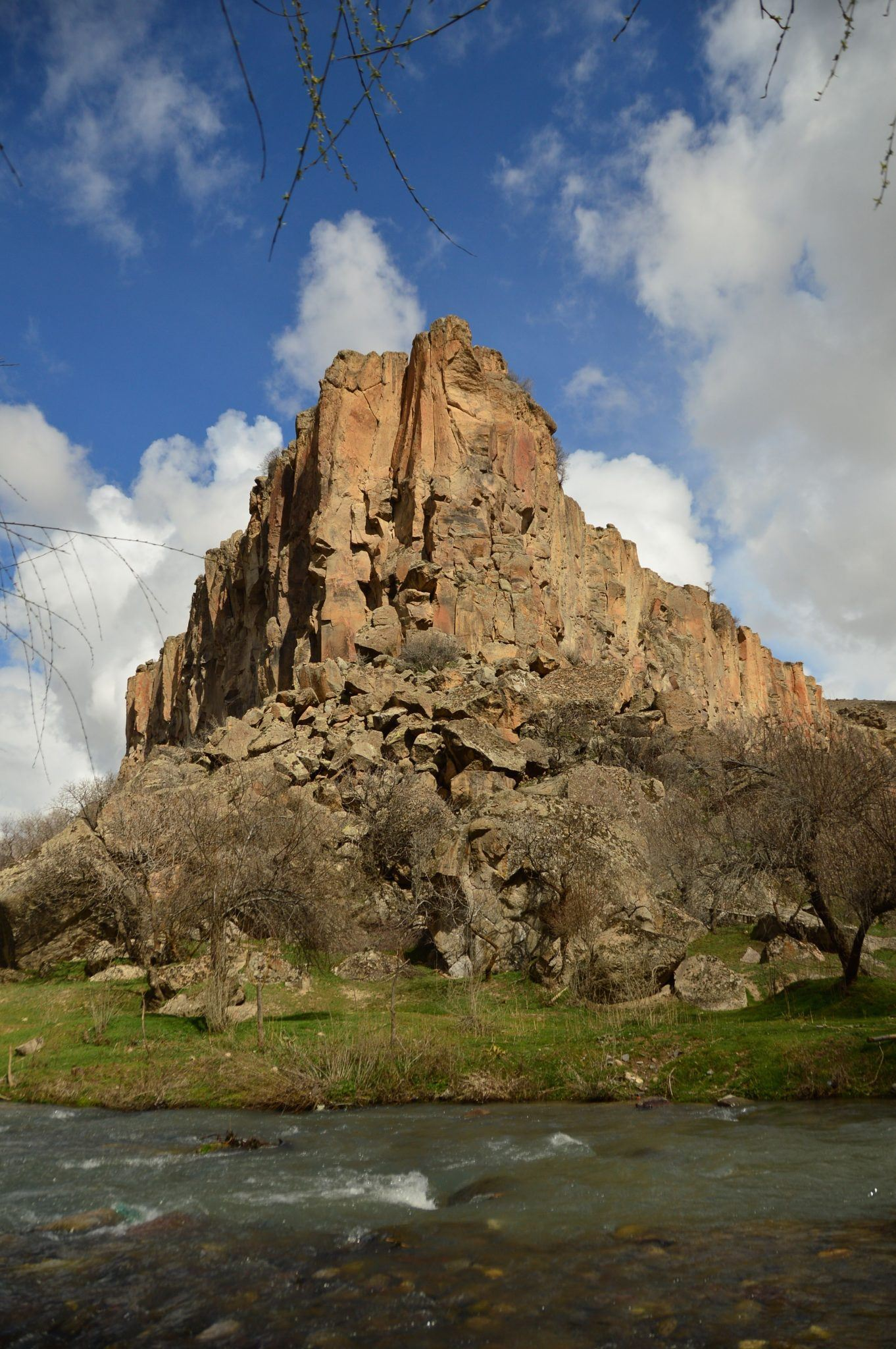 rock with stream in foreground in the Ilhara Valley Cappadocia