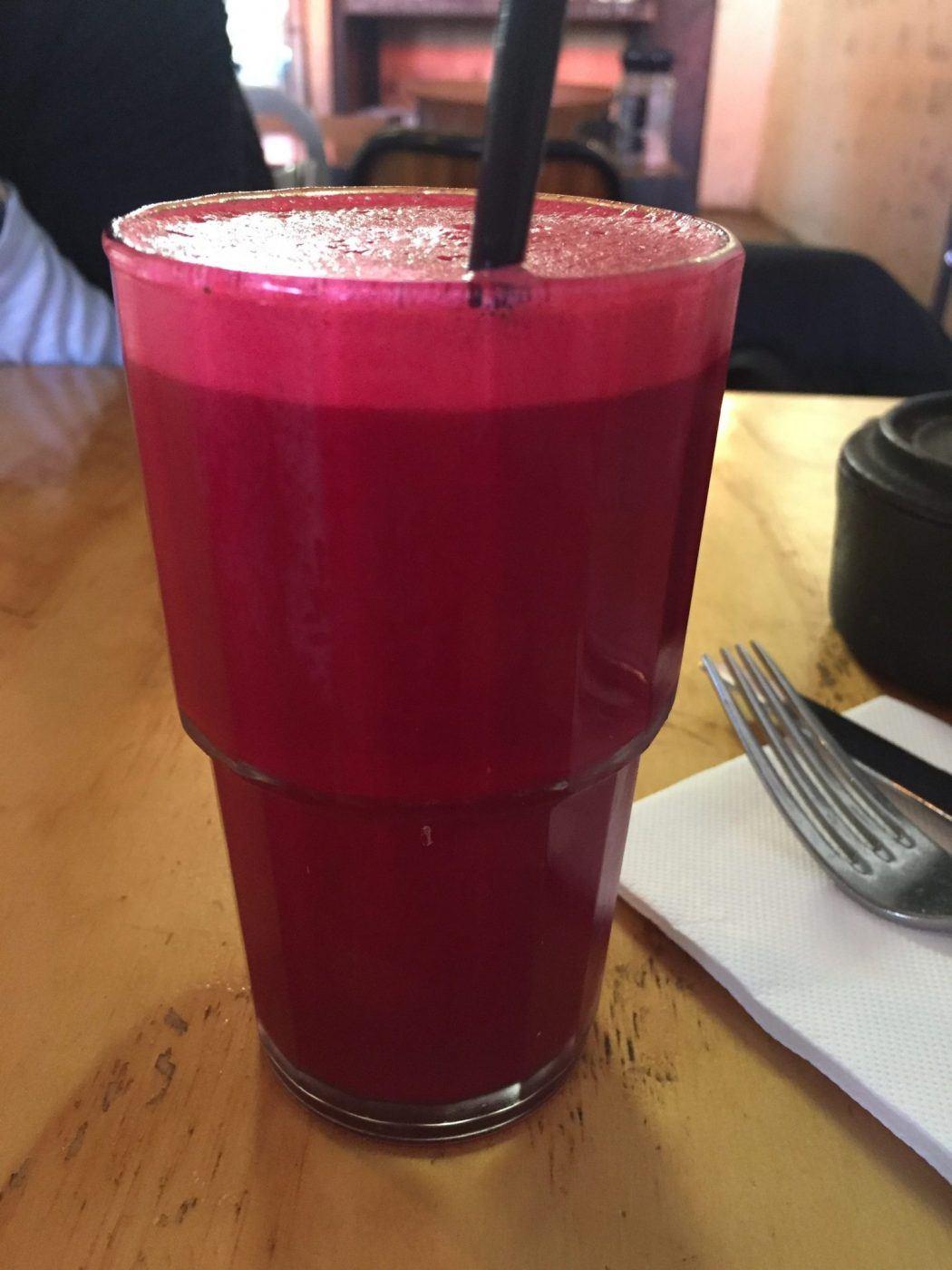 red juice at Dee's in Dromana on the Mornington Peninsula