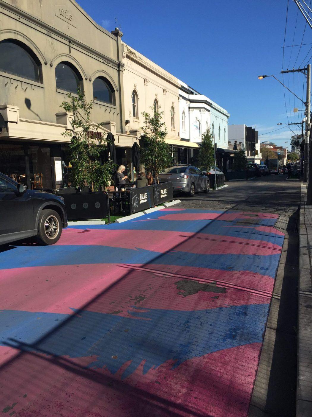 pink and blue road in greville street prahran