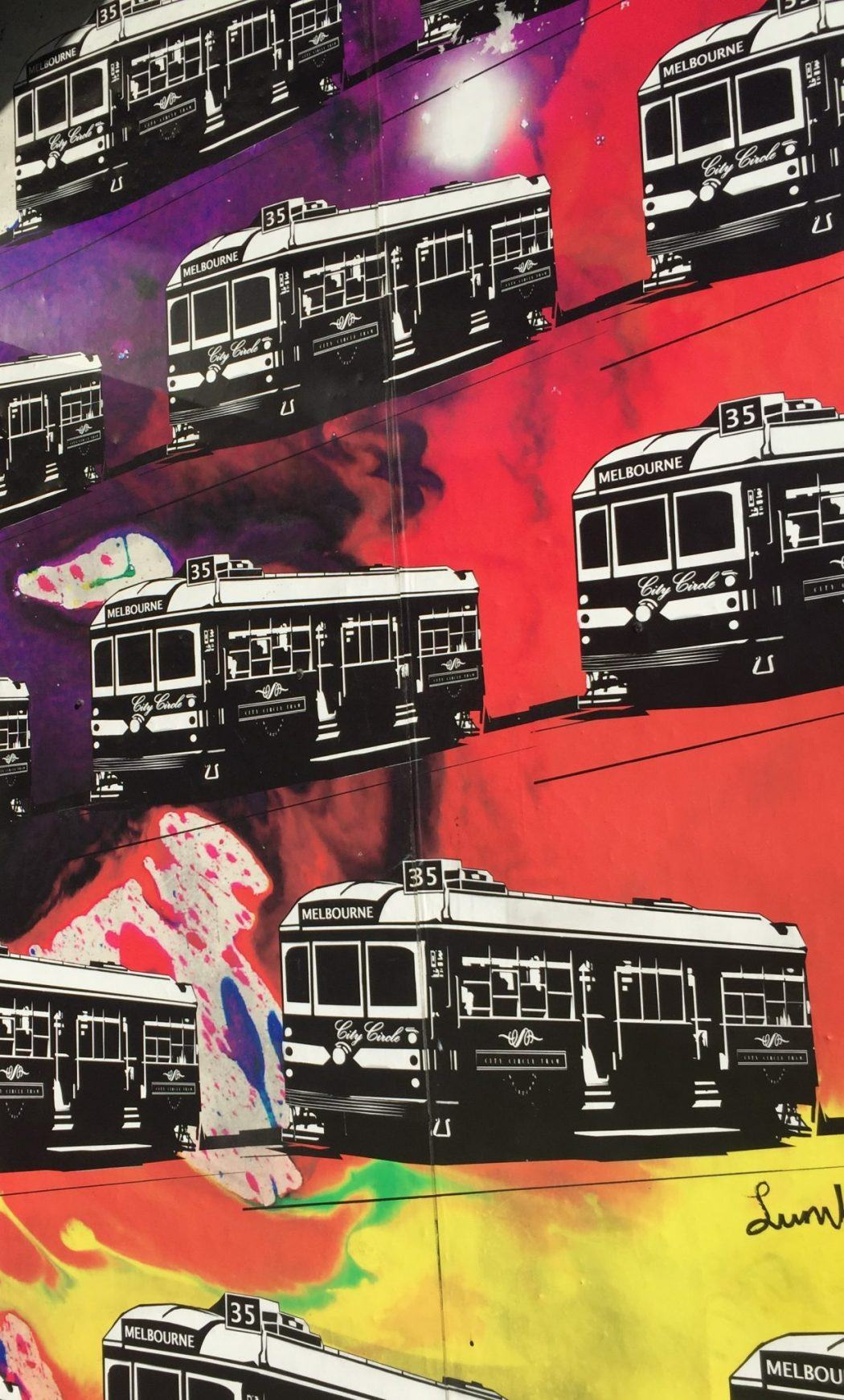 print work of melbourne trams against colourful backgrounds