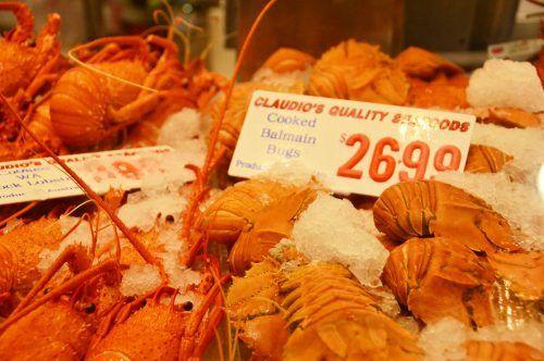 display of balmain bugs and pricing at sydney fish market