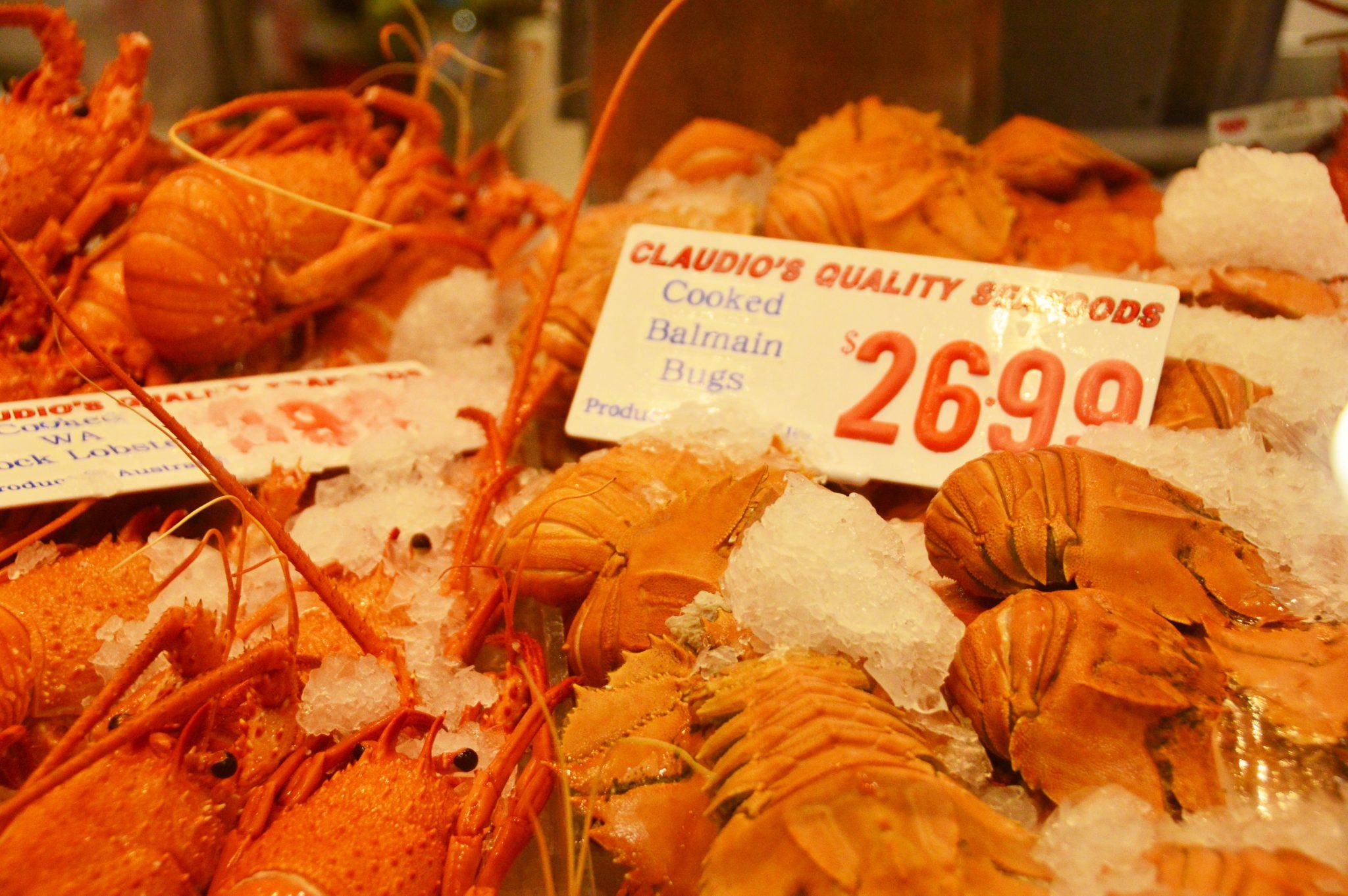 display of balmain bugs and pricing at sydney fish market
