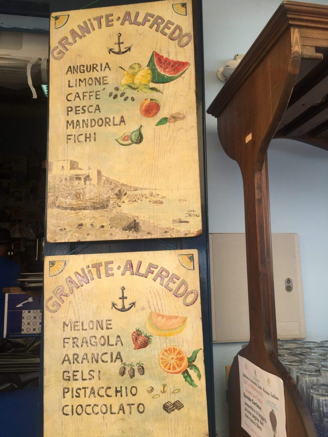 hand drawn style signs listing granite flavours activities in sicily lingua