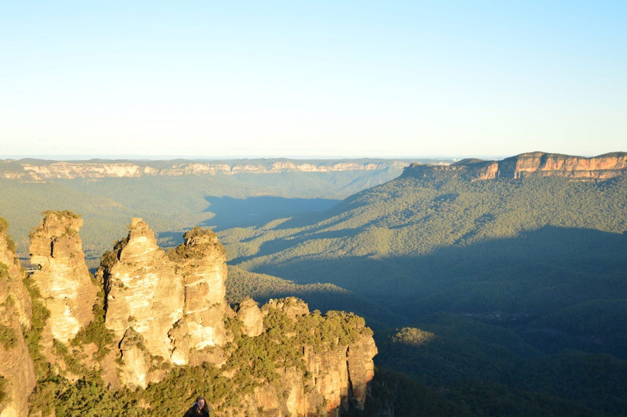 the three sisters and a wider view in the blue mountains of australia