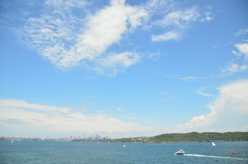 wide view of the sydney skyline and sky from watsons bay