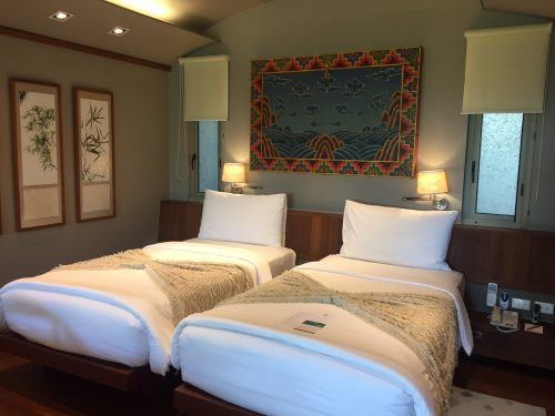 twin room in a boutique hotel