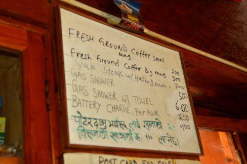 white board menu at a tea house everest base camp trek