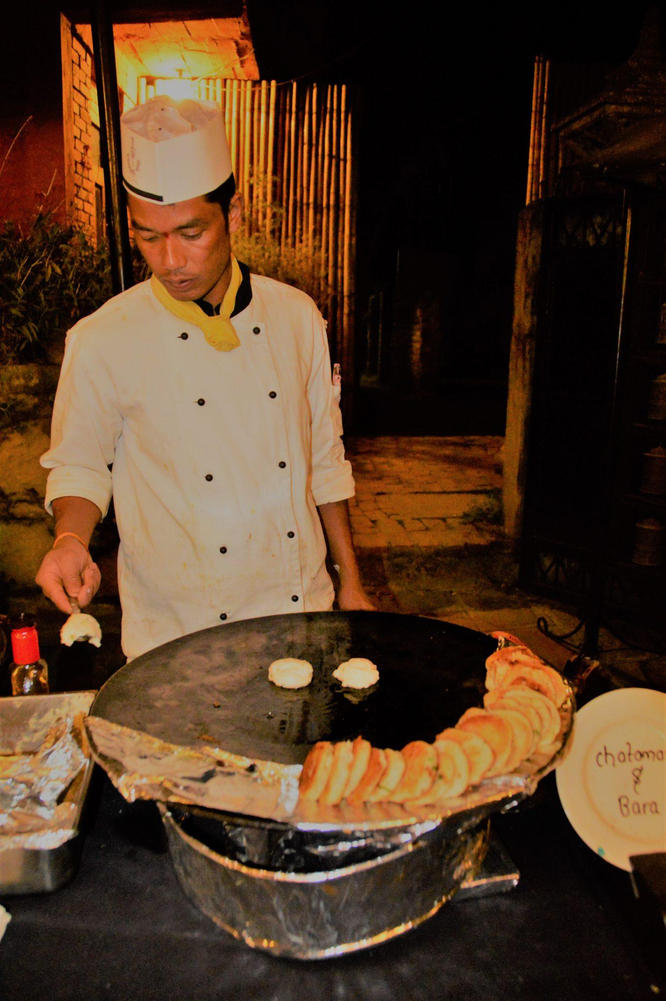 chef preparing bread at dwarikas kathmandu
