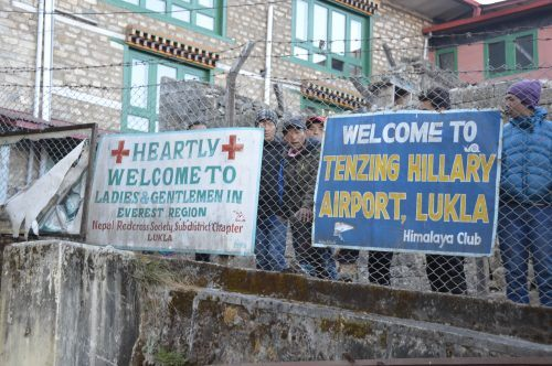 signs at lukla airport nepal