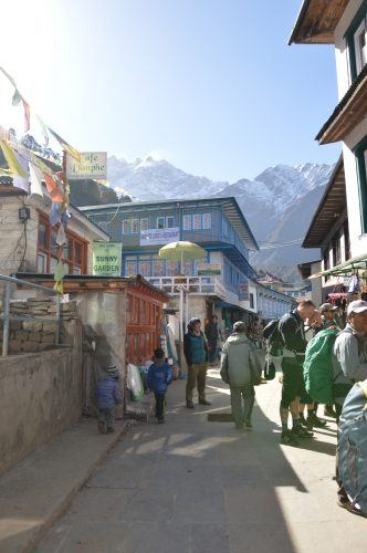 people on the streets of lukla nepal