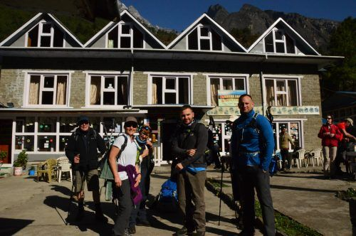 trekkers outside teahouse everest base camp trek nepal