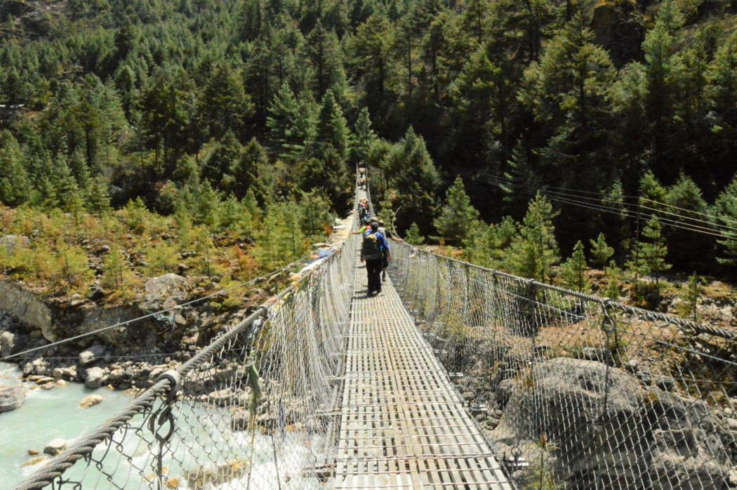 suspension bridge in Nepal on the everest base camp trek