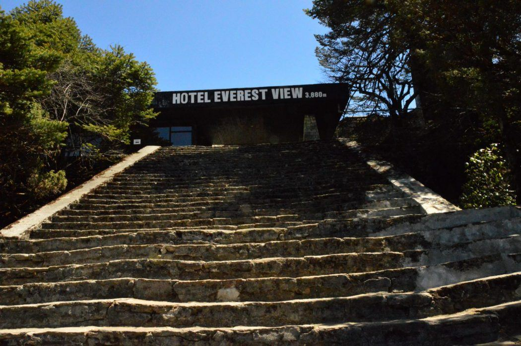 stairs leading up to the hotel everest view hotel