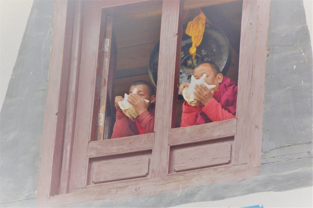 tengboche nepal monks in a window making the call to prayer with shells