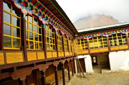 windows and interior of tengboche monastery nepal