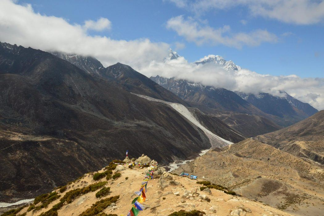 views from the altitude climb at Dingboche over the himalayas