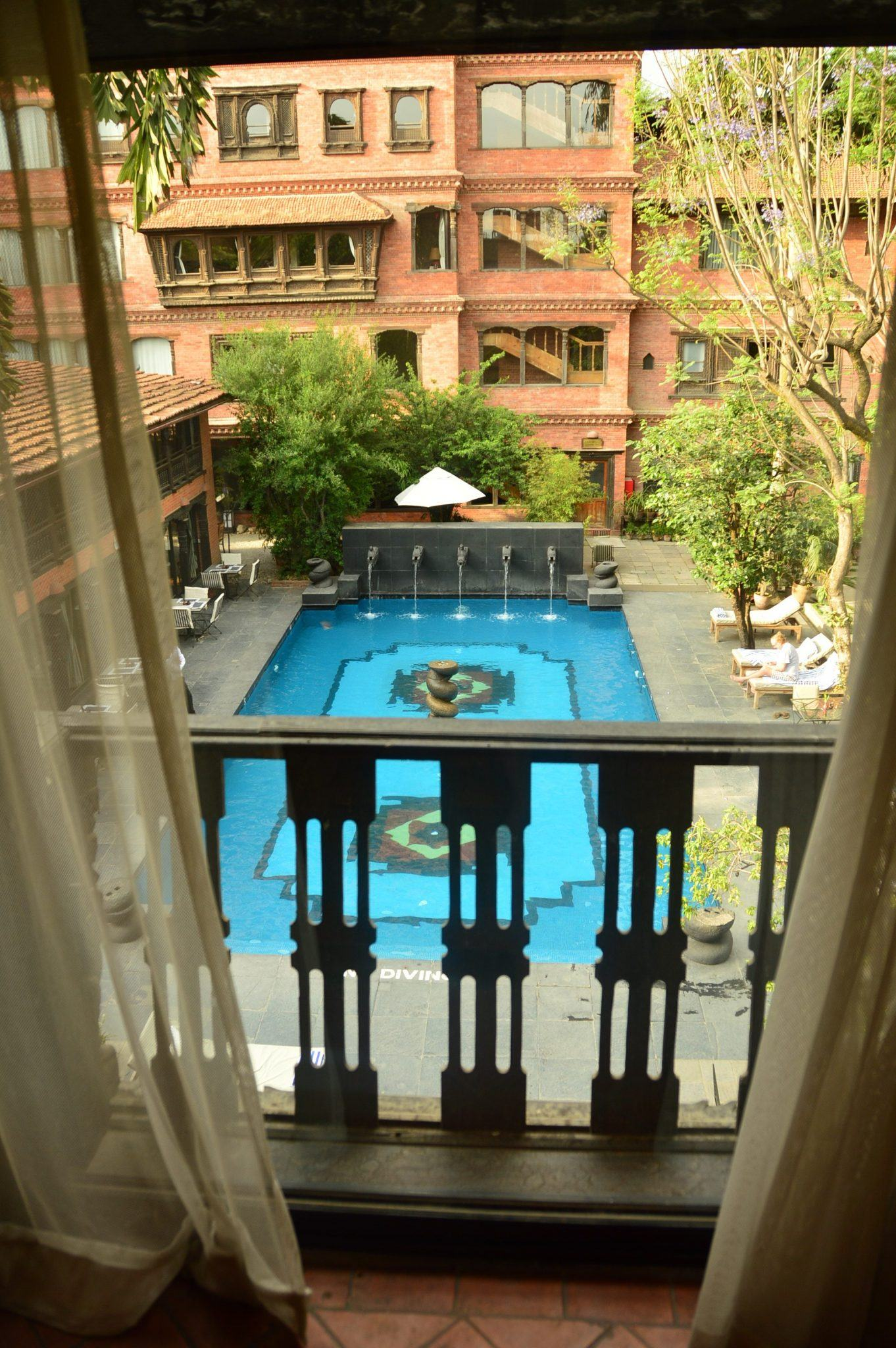 the pool at dwarika's kathmandu seen from a room