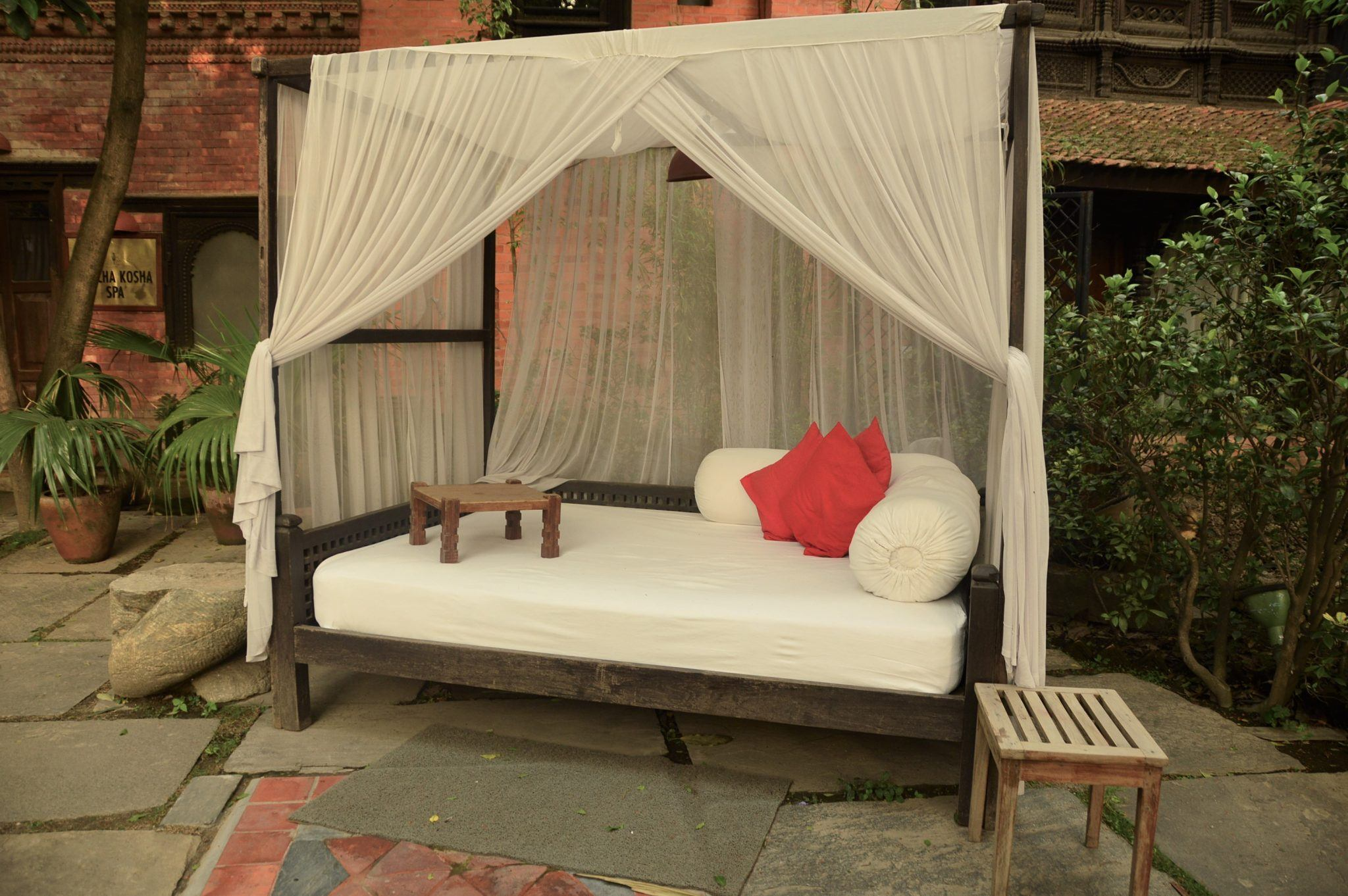 day bed by the pool at Dwarika's hotel kathmandu nepal