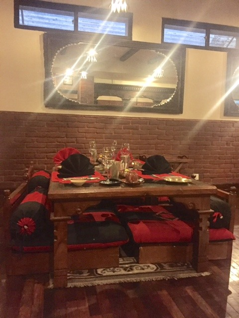 table at Krishna restaurant Dwarika's Kathmandu