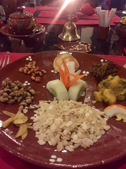 one course of a meal at Krishna's at the Dwarika hotel Kathmandu