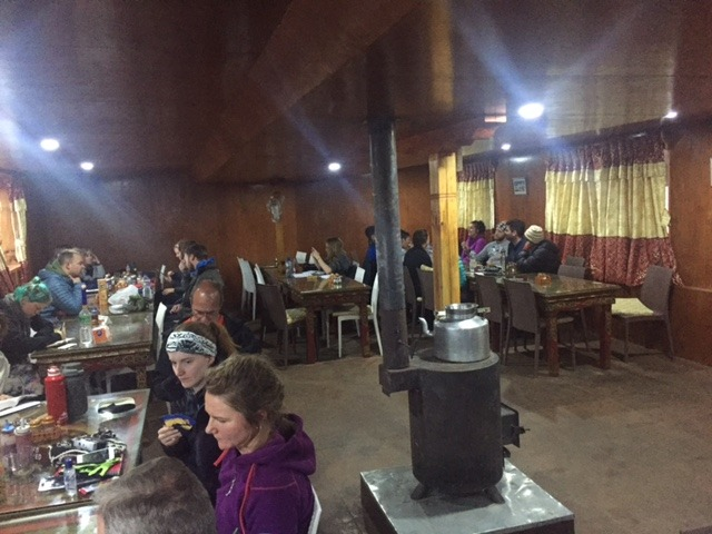 communal area and stove in a tea house on the everest base camp trek