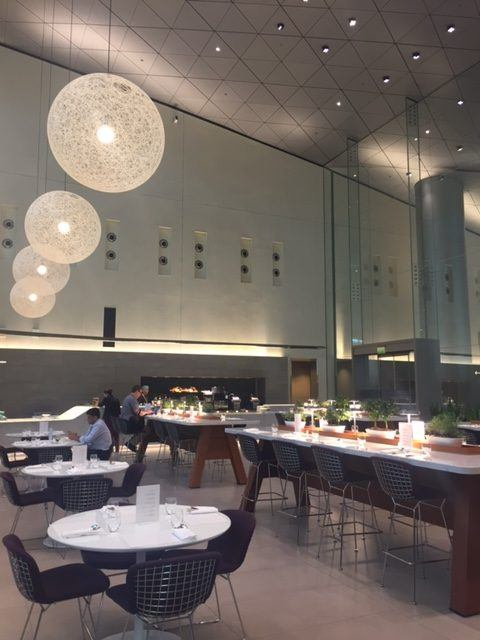 restaurant in the doha airport business class lounge for qatar