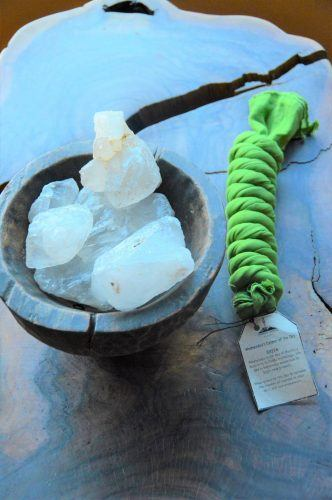 scarf and salt on a wooden table at dwarika's resort dhulikhel