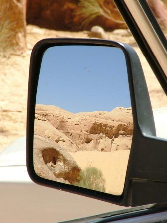 Desert in the rearview mirror