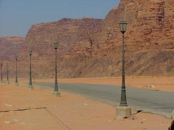 Rather unusually street lights in the desert