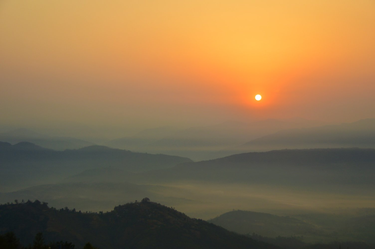 sunrise over kathmandu valley from dwarika's resort dhulikhel