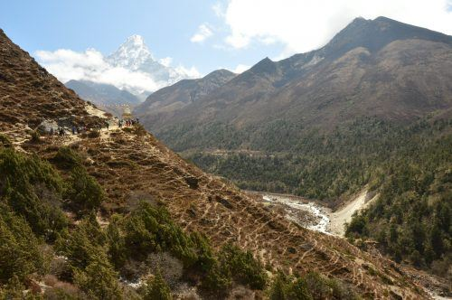 view from everest base camp trek on day 5