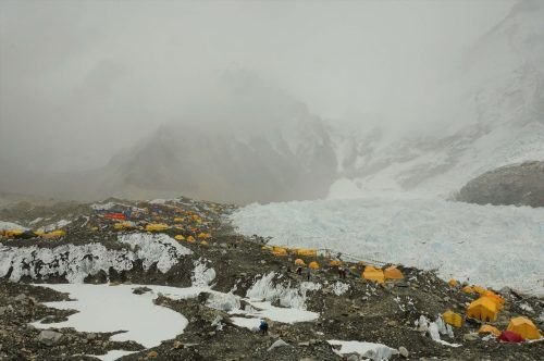 everest base camp in cloud and haze
