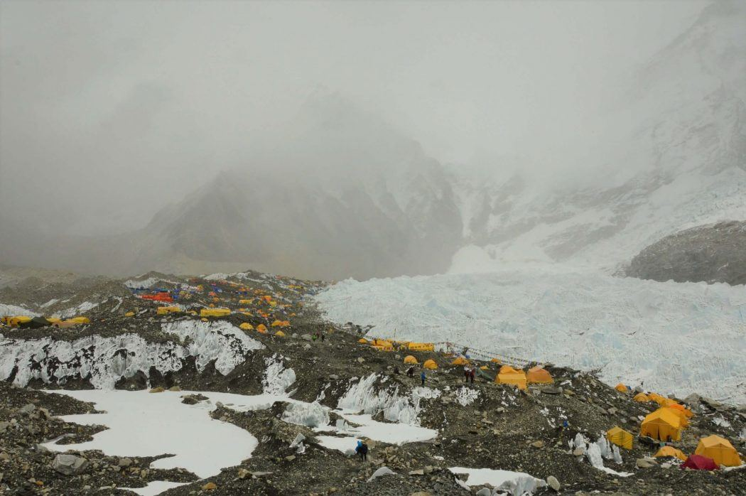 everest base camp with lots of soft cloud