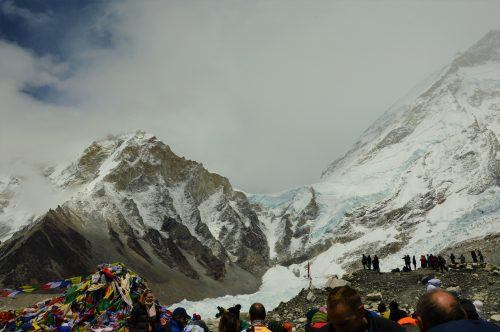 everest base camp with khumbu icefall in the background
