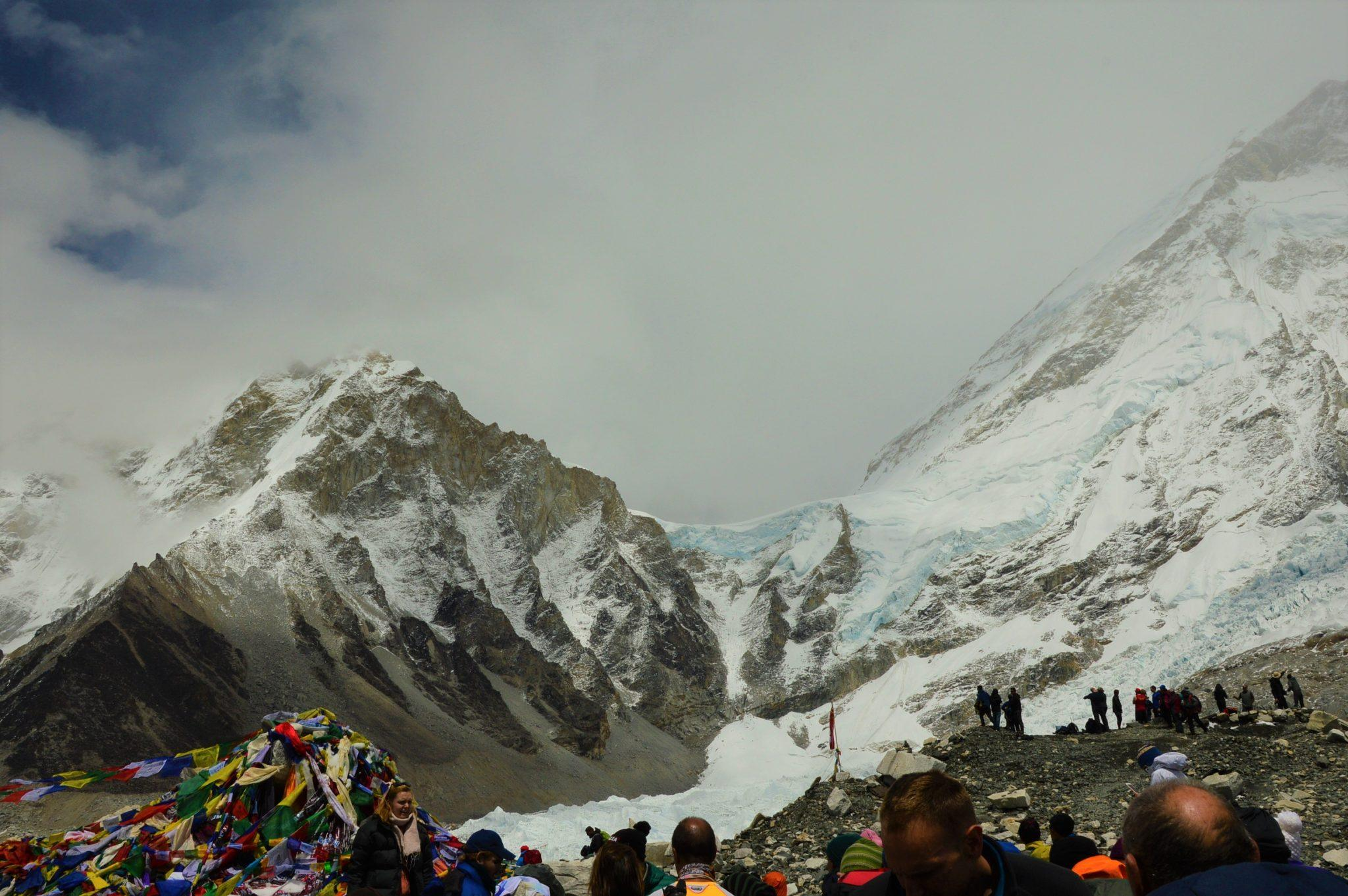 everest base camp with mountains and khumbu ice fall in the background