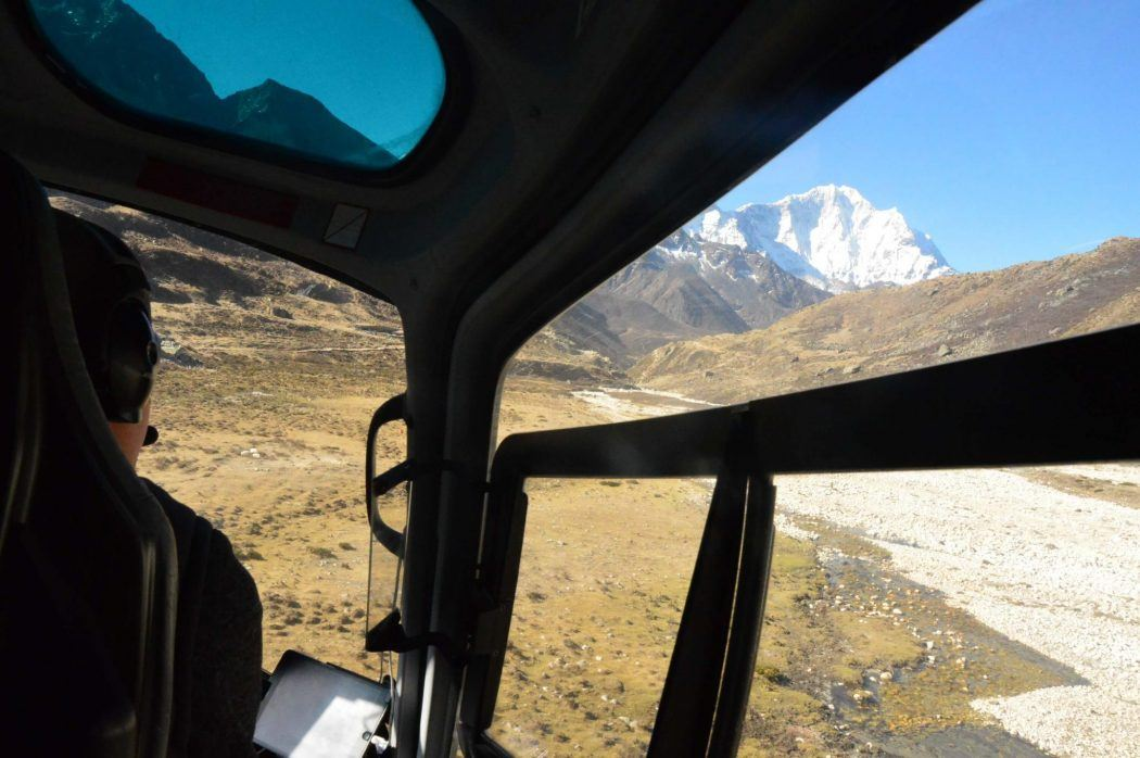 view from helicopter of the himalayas