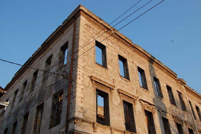 Bombed building in sarajevo