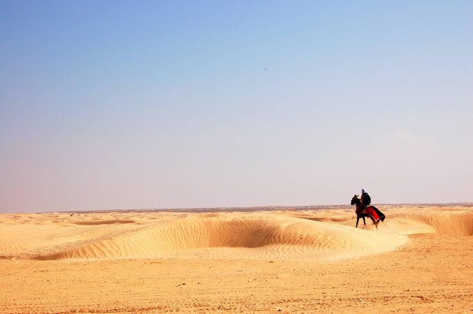 A lone camel rider in the sahara