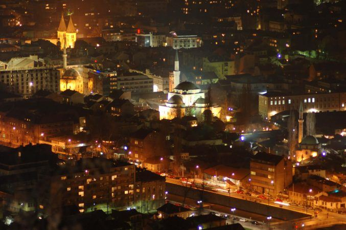 Night view of Sarajevo