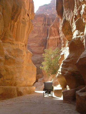 A carriage heads down the Siq towards Petra