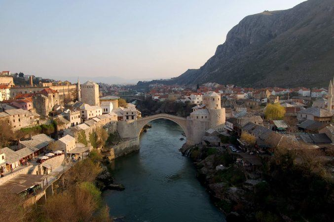 View of Mostar Bridge from the mosque