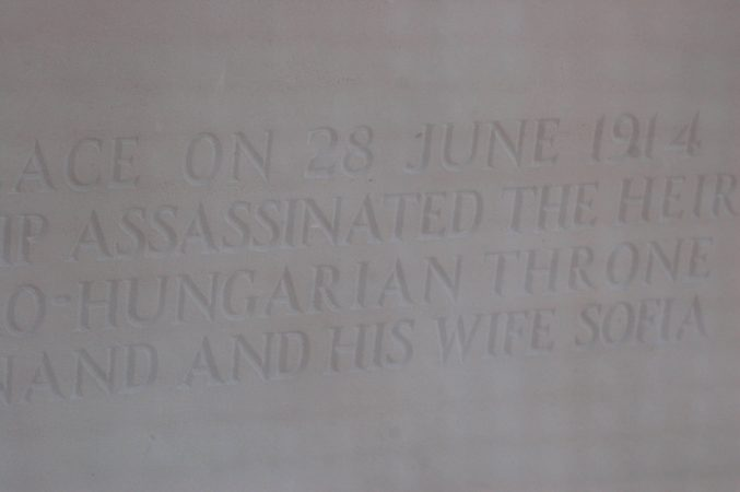 Plaque of the spot where WW1 started with an assassination