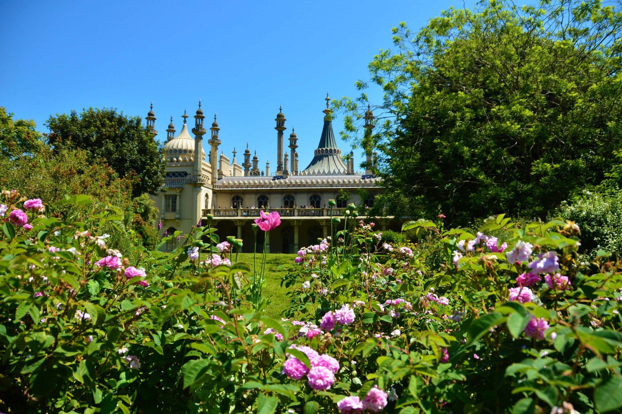 Brighton Pavillion with pink roses in the foreground