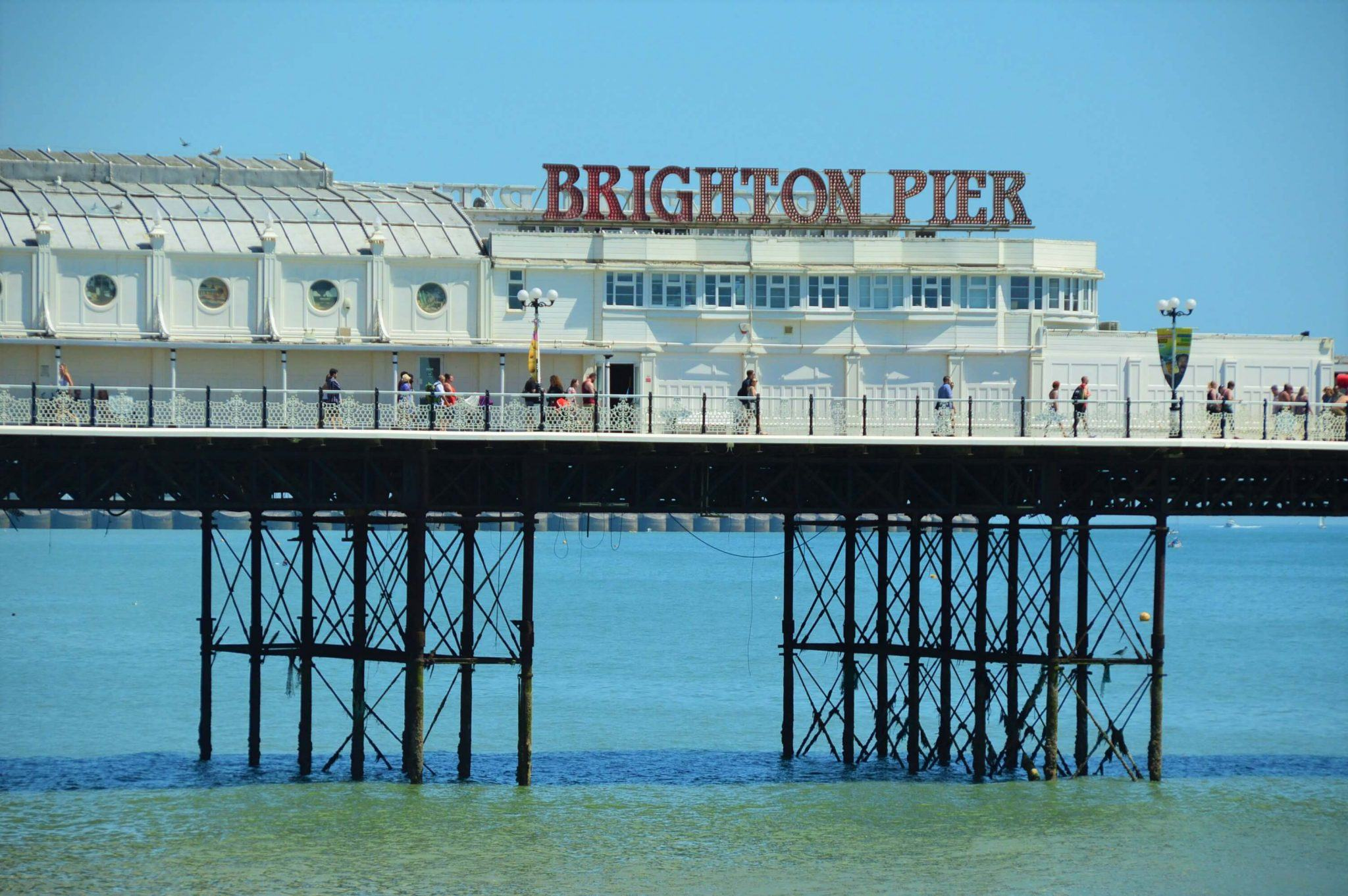 Brighton Pier sign over the water
