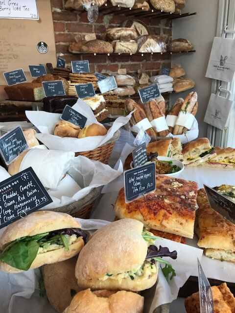 rolls, sandwiches and bread on display at the Flour Pot Bakery in Brighton