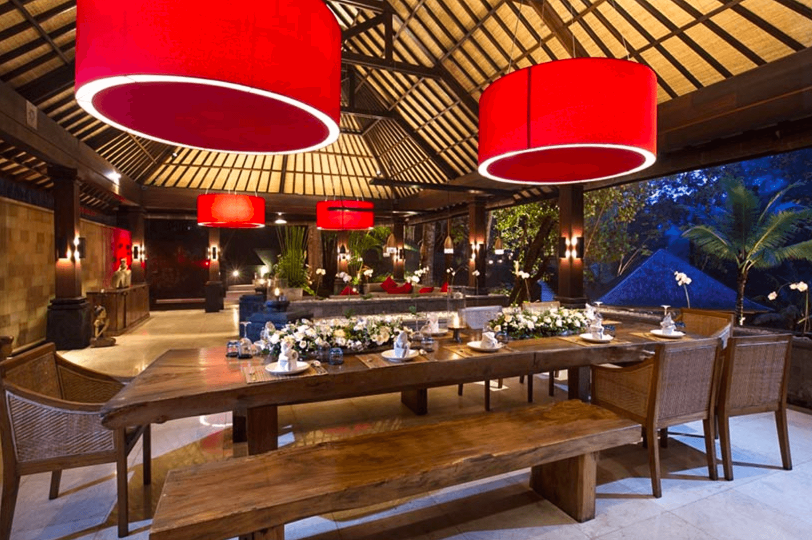 The Sanctuary Villa Canggu table with red light fittings